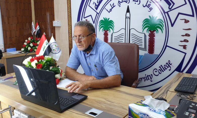 عميد كلية شط العرب الجامعة يزور الصفوف الإلكترونية في قسم اللغة الإنكليزية